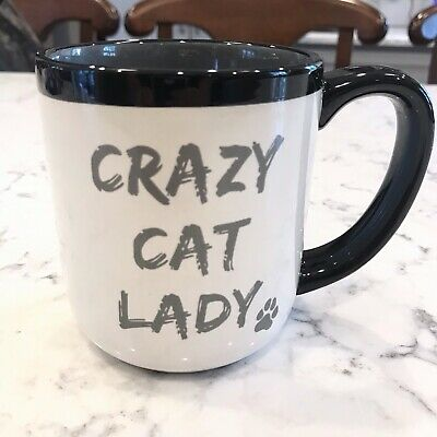 "10 strawberry street ""Crazy Cat Lady"" Coffee Tea Mug Cats White Black Gray"