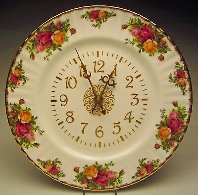 "Royal Albert Old Country Roses Battery Wall Clock 10 ½"" wide Made England"