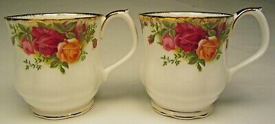 "Royal Albert Old Country Roses Pair of Coffee Mugs 3 ¼"" Tall 8 oz. Made England"