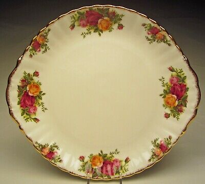 "Royal Albert Old Country Roses Tab Handled Cake Plate 10 ½"" wide Made England"