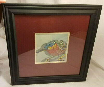 Framed Digital Photograph of Colorful Bird Wood Carving by Jack Camarote