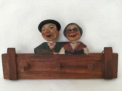 Antique Hand Carved Wood Hand Painted Old Man Lady Key Plaque Holder Bobble Head