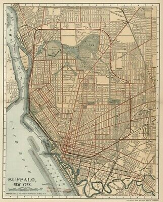 BUFFALO New York Street Map / Plan:Authentic 1902 (Dated) Landmarks, Stations, +