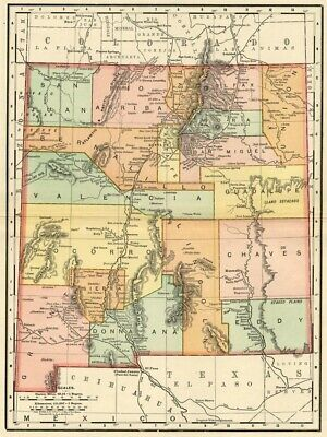 New Mexico Map: Authentic 1895 (Dated) showing Towns, Counties, Railroads & More