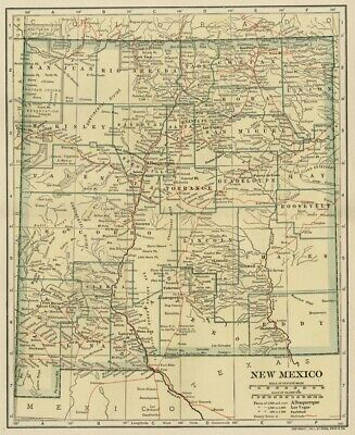NEW MEXICO Territory Map: Authentic 1907 (dated) w/ Counties, Towns, Topog, RRs
