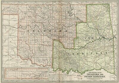 Oklahoma & Indian Territory Map: Authentic 1897 (Dated) Tribes, Towns, Railroads