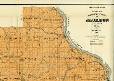 JACKSON County Iowa Map DATED 1906 w/ RRs, Towns, Cities, Primary Roads: Detail