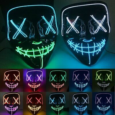 4 Modes Halloween LED Glow Mask EL Wire Light Up The Purge Movie Costume New lot