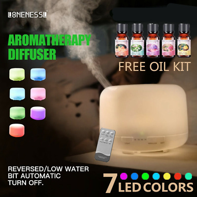 500ml Essential Oil Aroma Diffuser LED Ultrasonic Air Aromatherapy Humidifier