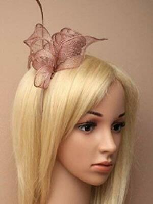5923 Nude Mocha coiled and looped sinamay fascinator with feathers on aliceband