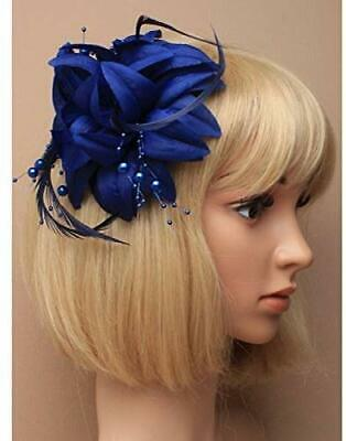 5866 Layered Navy fabric flower with feathers fascinator and Navy beads on fork