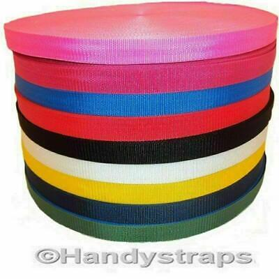 "Polypropylene Webbing 10 Metre Roll x 25mm colour 1"" and Choice of Colour"
