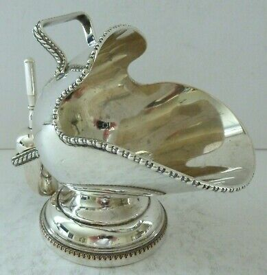 Antique Best Silver Plate on Brass Sugar Bowl Coal Scuttle Engraved England Rare