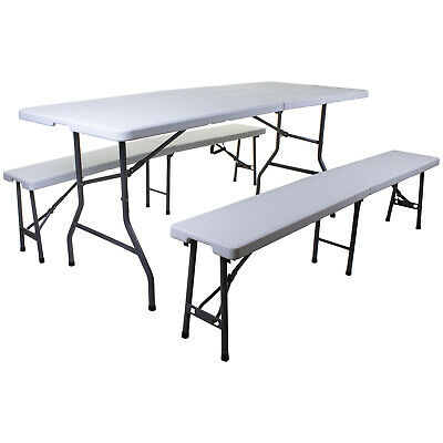 6FT Folding Table & Bench Set Trestle Camping Picnic BBQ Outdoor Furniture Party