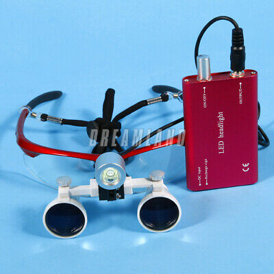 New Dental 3.5X 420mm Binocular Loupes Optical Glasses + LED Head Light Lamp red