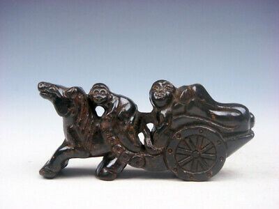 Vintage Nephrite Jade Stone Carved Sculpture Monkey Horse Carriage #09221906