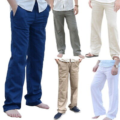 Mens Cotton Linen Casual Drawstring Trouser Casual Loose Pants Quality Upgrade