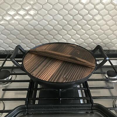 """Cast Iron Wok, Pre-Seasoned with Wooden Lid 12"""" Diameter and Large Handles"""