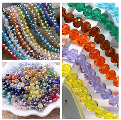 wholesale 100pcs 4x6mm Rondelle glass Crystal Flat Beads Jewelry Faceted beads