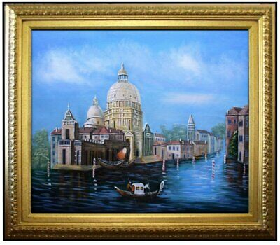 Framed Quality Hand Painted Oil Painting, Venice Waterway 20x24in