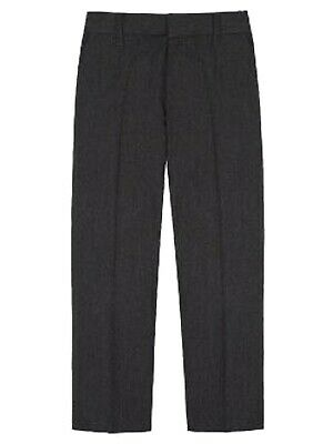 NEW BOYS EX STORE GREY REGULAR PERMANENT CREASE SCHOOL TROUSERS Age 3-6 yrs T34
