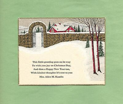 SNOW-COVERED HOME On Beautiful Vintage Art Deco Greeting Card