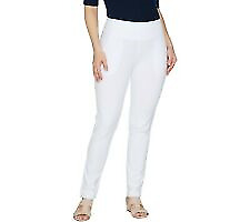 Women with Control Petite Slim Leg Ankle Pants with Faux Back Pockets, White, M