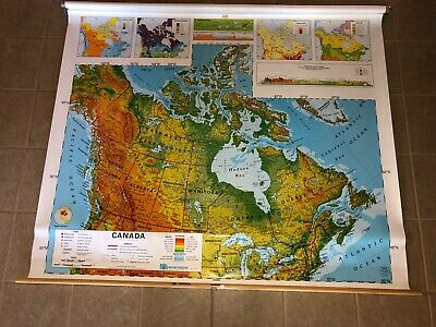 "Vintage Nystrom 1SR11 Pull Down Canada Map 64"" x 54"""