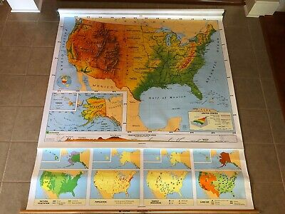 "Vintage Nystrom 1PR1A Pull Down United States Map 64"" x 71""  Markable Surface"