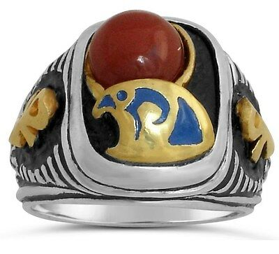 Egyptian 10 karat Gold Falcon Horus Signet    Sterling Silver 925 ring