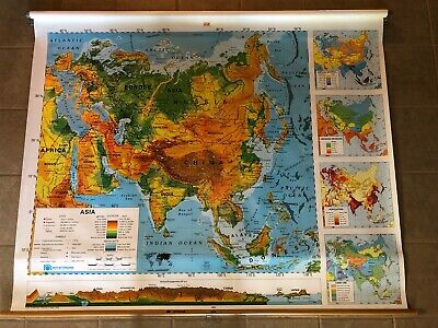 """Vintage Nystrom 1SR3 Pull Down Asia Map 64"""" x 50""""  Markable Surface"""
