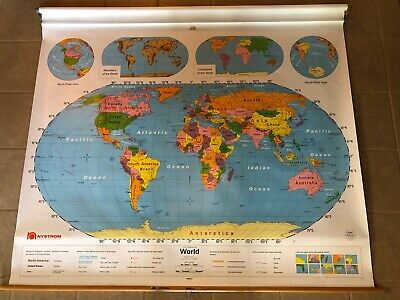 "Vintage Nystrom 1NS99 Pull Down World Map 64"" x 52"" Markable Surface"