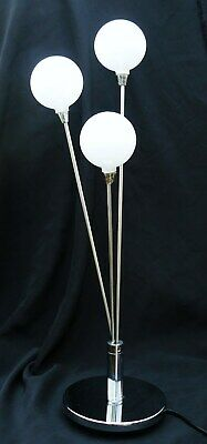 Contemporary Chrome Table Lamp Three Glass Globes & Dimmer Switch Art Deco Style