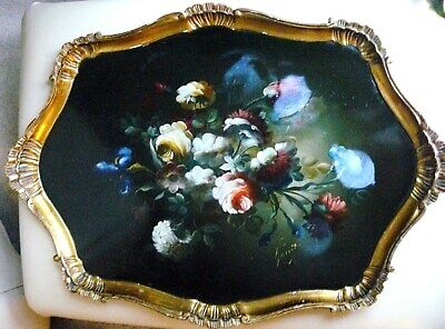 """Hand Painted Wooden Tray Large Italian Tray Signed By The Artist 24"""" x 17"""""""