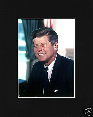 President John F. Kennedy JFK Black Matted Photo Picture #1a
