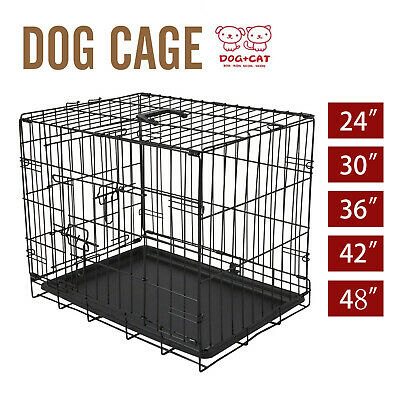 Dog Crate Kennel Folding Metal Pet Cage 2 Door with Tray Pan S/M/L/XL/XXL
