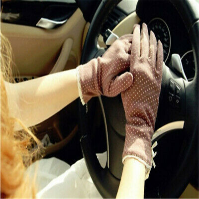 Women Slip-resistant Thin Short Polka Dot Gloves Sun-shading Sunscreen Gloves