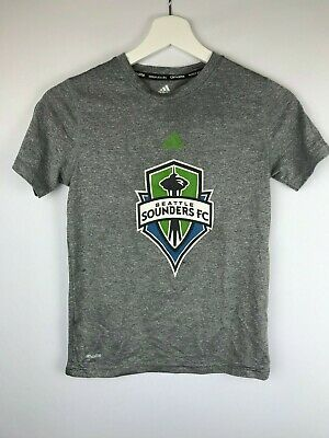 Adidas Climalite T Shirt, Gray, Seattle Sounders MLS Soccer Logo Girl's Small