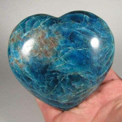 "3.8"" Blue APATITE HEART Polished Palm Stone Healing Reiki - Madagascar - 1.3 lbs"