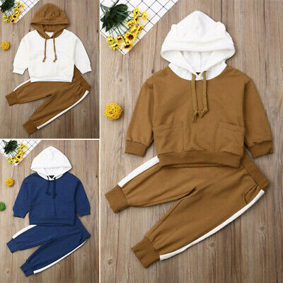Baby Kids Boy Girls Tracksuit Set Hooded Tops Pants Toddler Clothes Outfits