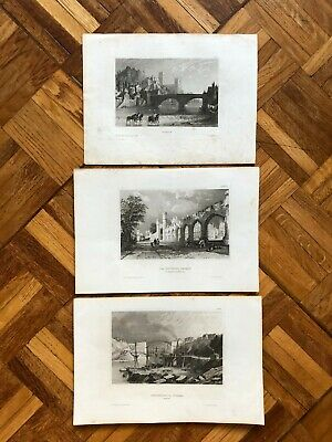 Set of 3 original antique 19th century Durham county engravings prints graphics