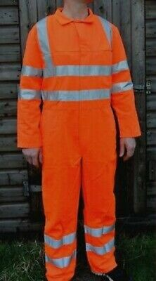 Orange Rail Glowtec Hi-Vis Coverall Overall Boiler Suit Workwear High Visibility