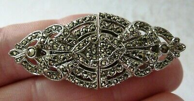 Antique Chrome Silver Plate Art Deco Marcasite Brooch Pin Earrings Dress Clips