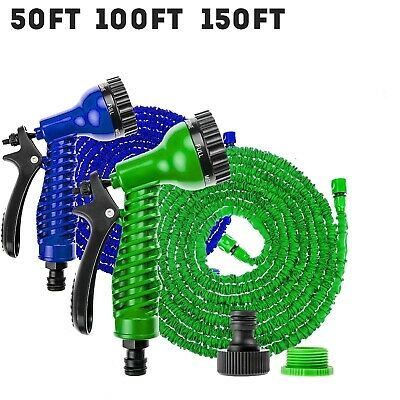 Flexible 50-150 FT Expandable Heavy Duty Garden Magic Water Hose Pipe Spray Gun