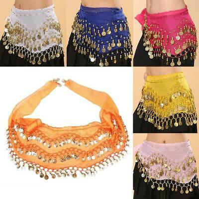 Women Belly Dance Hip Skirt Scarf Wrap Belt 128 Coin 3 Rows Sequin Tassel Chain