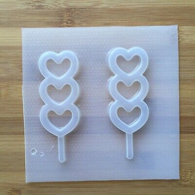 Triple Heart Lollipop Shaker Plastic Mold Flexible Resin Decoden UV Dango Kawaii