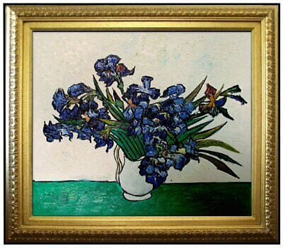 Framed Van Gogh's Vase with Irises Repro, Hand Painted Oil Painting 20x24in