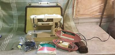 Vintage Singer 401A Slant-O-Matic Sewing Machine Pedal Attachments & Case