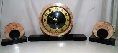 ART DECO MARBLE CLOCK WITH MATCHING GARNITURES,ORIGINAL KEY,COLLECTIBLE 1930s.