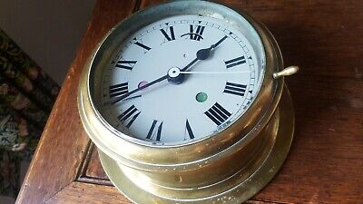 Victorian Ships Bulkhead  Brass Clock Case With Converted Quartz Movement.